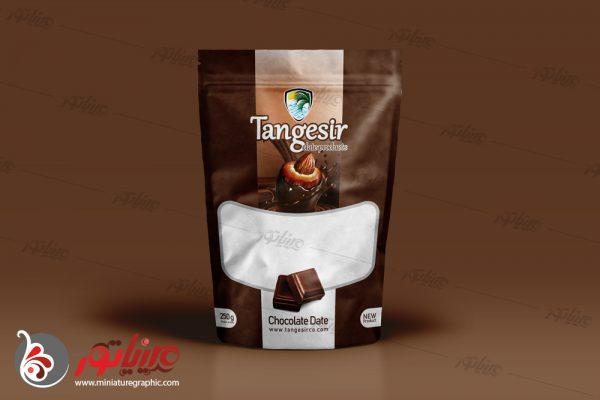طراحی بسته بندی فرآوردهای خرمایی تنگسیر ، خرما شکلاتی با طعم کاکائو