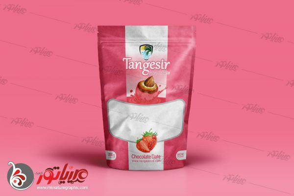 طراحی بسته بندی فرآوردهای خرمایی تنگسیر ، خرما شکلاتی با طعم توت فرنگی