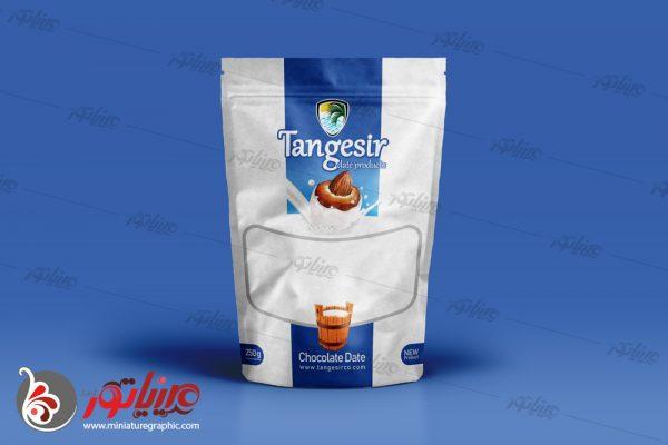 طراحی بسته بندی فرآوردهای خرمایی تنگسیر ، خرما شکلاتی با طعم شیری