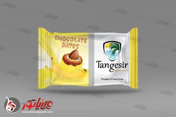 طراحی بسته بندی فرآوردهای خرمایی تنگسیر ، خرما شکلاتی با طعم موزی