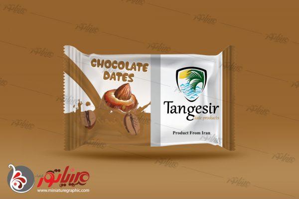 طراحی بسته بندی فرآوردهای خرمایی تنگسیر ، خرما شکلاتی با طعم نسکافه