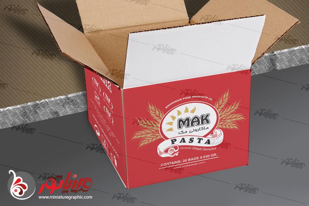 """طراحی و چاپ کارتن مادر محصولات ماکارانی """"برند مک ماکاون """""""