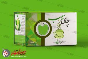 طراحی بسته بندی چای کیسه ای سیب، دمنوش سیب