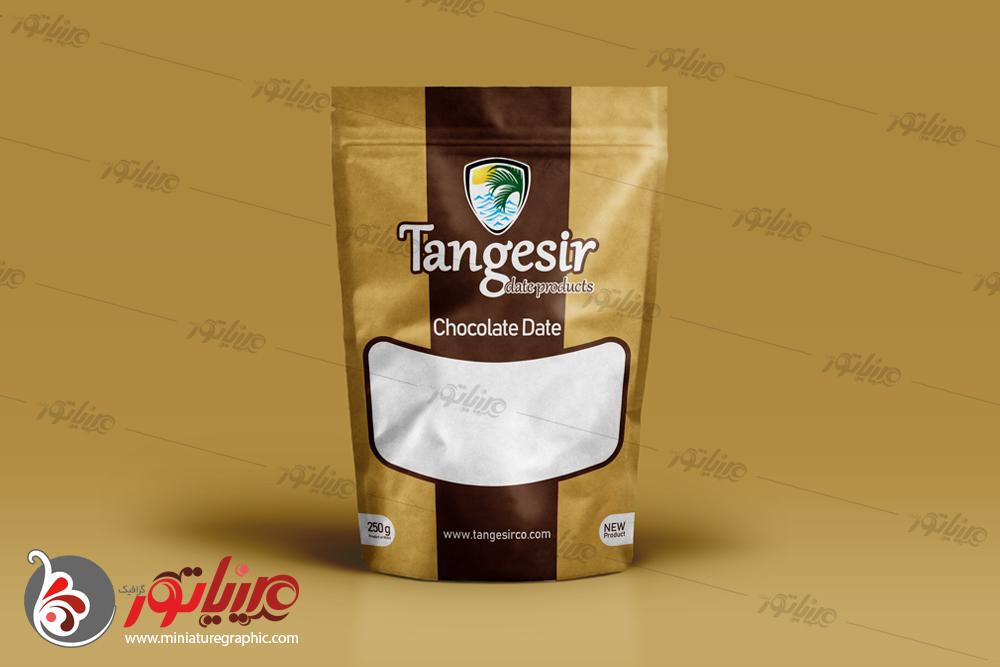طراحی بسته بندی خرما مغزدار شکلاتی، فرآورده های خرمایی تنگسیر